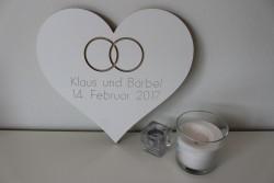 Hochzeitsgeschenk Herz mit 2 Namen und Eheringen