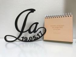 """Hochzeitsgeschenk """"Ja"""" mit Datum in Schreibschrift"""