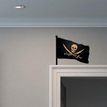 Piratenflagge aus Holz für die Tür
