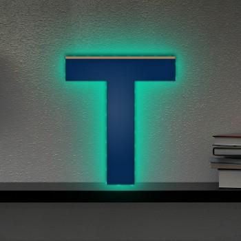 Beleuchteter Holzbuchstabe T - LED Lampe