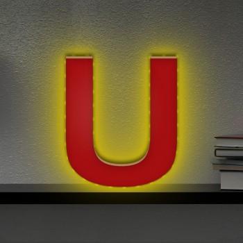 Beleuchteter Holzbuchstabe U - LED Lampe