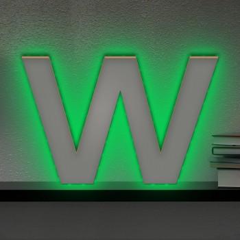 Beleuchteter Holzbuchstabe W - LED Lampe