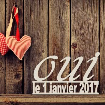 """Hochzeitsgeschenk """"Oui"""" mit Datum in Schreibschrift"""