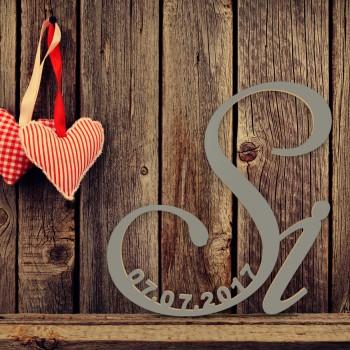 """Hochzeitsgeschenk """"Si"""" mit Datum in Schreibschrift"""