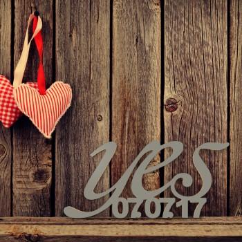 """Hochzeitsgeschenk """"Yes"""" mit Datum in Schreibschrift"""