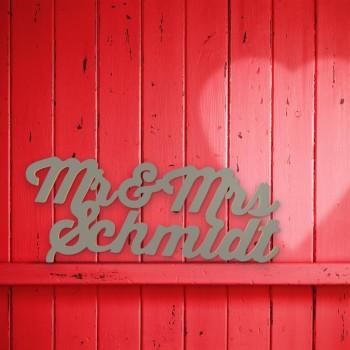 """Hochzeitsgeschenk """"Mr. & Mrs."""" mit Nachnamen"""
