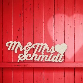 """Hochzeitsgeschenk """"Mr. & Mrs."""" mit Nachnamen und Datum"""
