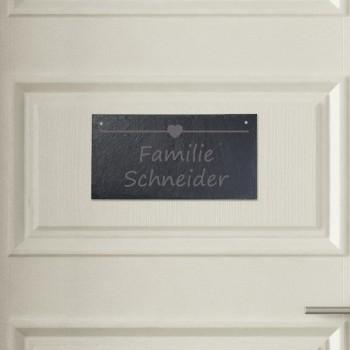 Türschild aus Schiefer - Design Kleines Herz