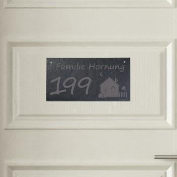 Türschild aus Schiefer - Design Haus mit Nummer