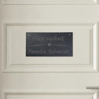 Türschild aus Schiefer - Design Hier wohnt
