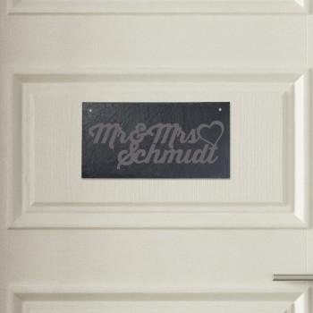Türschild aus Schiefer - Design Mr. & Mrs.
