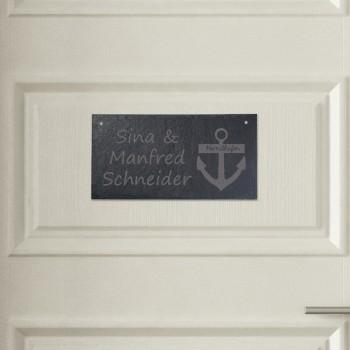 Türschild aus Schiefer - Design Heimathafen