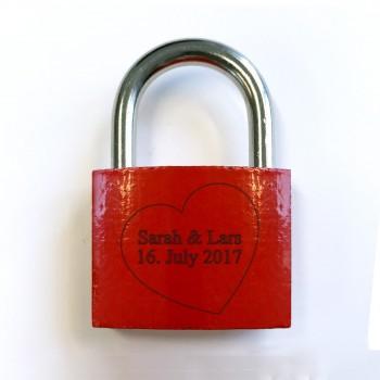 Liebesschloss - Design Großes Herz mit 2 Namen und Datum
