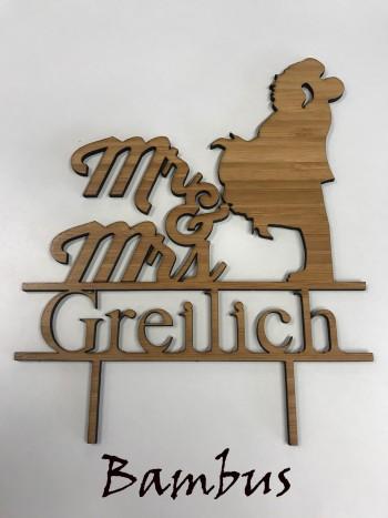 """Tortenfigur, Tortendekoration """"Mr. & Mrs."""" mit Nachnamen aus Acryl oder Holz"""