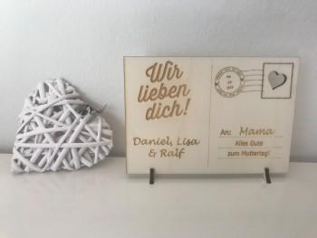 Holzpostkarte - Design nach Wahl