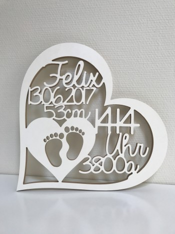 Geschenk zur Geburt - Herz mit Namen, Datum, Uhrzeit, Gewicht und Größe