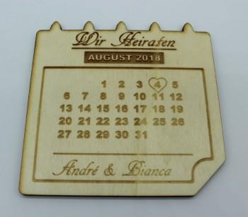 Wir Heiraten - Kühlschrankmagnet Termin Erinnerung / Safe the Date aus Pappel