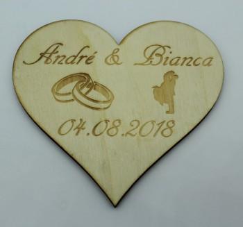 Tischdeko Streudeko Herz mit Ringen und Datum aus Pappel