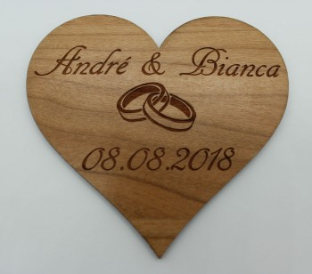 Wir heiraten - Termin Erinnerung / Safe the Date Herz mit Ringen