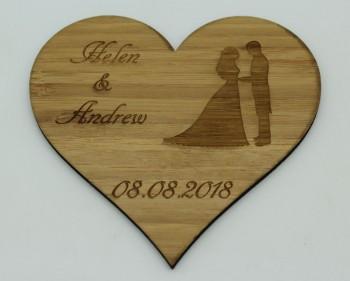 Wir heiraten - Termin Erinnerung / Safe the Date Herz mit Ehepaar, groß