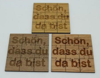 """Tischdeko Streudeko Puzzle 3x3 Teile 8cm """"Text nach Wahl"""""""