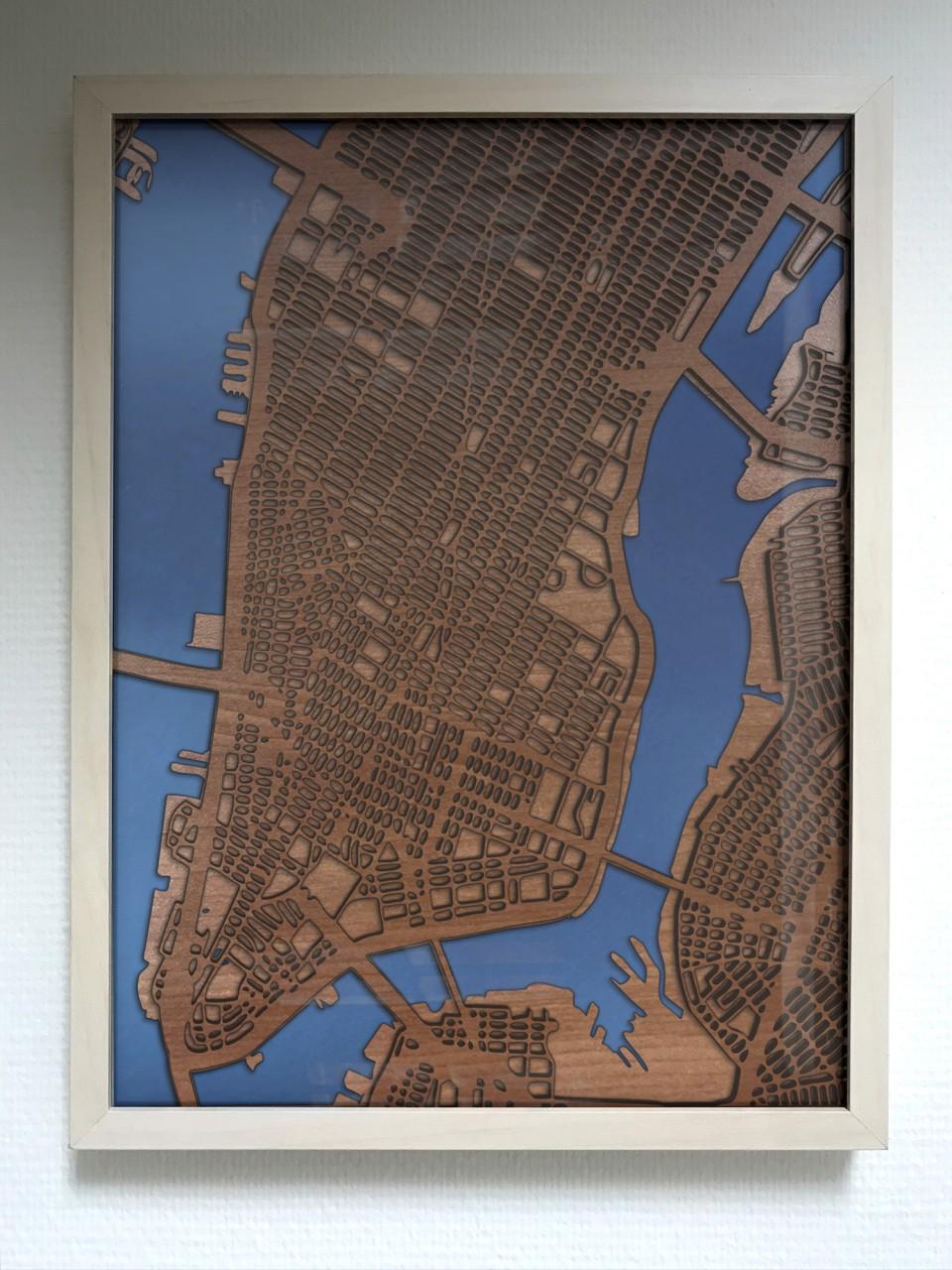 Gerahmte 3D Karte von New York