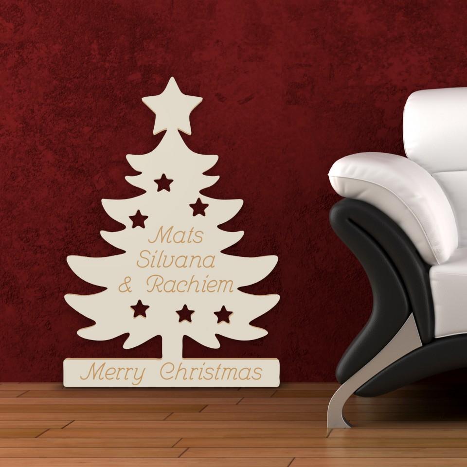 weihnachtsbaum aus holz merry christmas mit namen. Black Bedroom Furniture Sets. Home Design Ideas