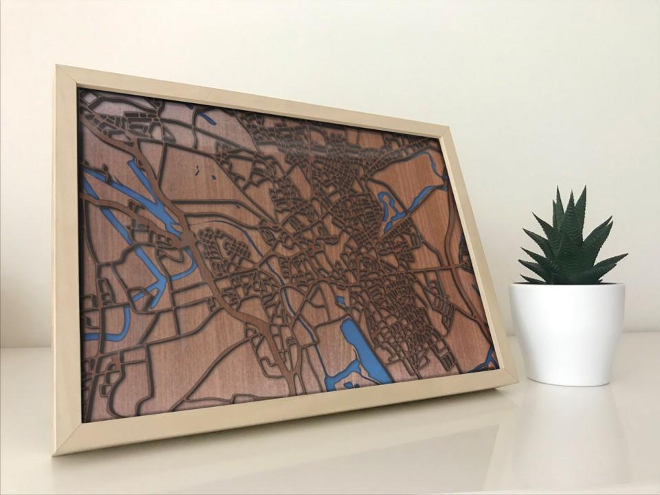 Gerahmte 3D Karte von Hannover