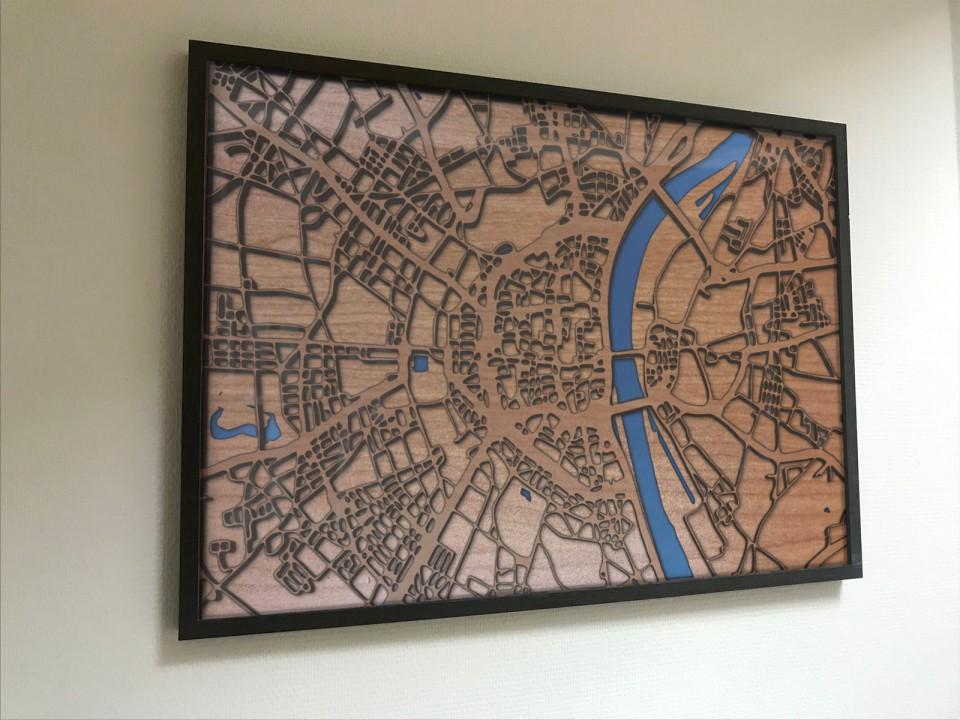 Gerahmte 3D Karte von Köln